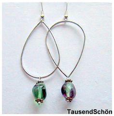 Etwas ganz Besonderes!  Ohrhänger mit  Regenbogenfluorit  (Feenstein)  kann gedreht werden.