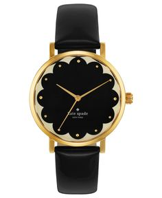 kate spade new york Watch, Women's Metro Black Leather Strap 34mm 1YRU0227 - Watches - Jewelry & Watches - Macy's