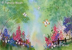 Original Watercolour Butterflies in the Woods 10 x 8 by wilmasart