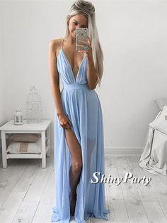 Custom Made A Line V Neck Light Blue Prom Dress with Slit, Light Blue Formal Dress, Bridesmaid Dress