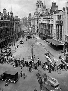 Air raid damage, London, Looking down Tottenham Court Road from the intersection of Oxford Street and New Oxford Street. (Photo by William Vandivert/The LIFE Picture Collection/Getty Images) Victorian London, Vintage London, Old London, London History, British History, Uk History, Local History, Family History, London Pictures