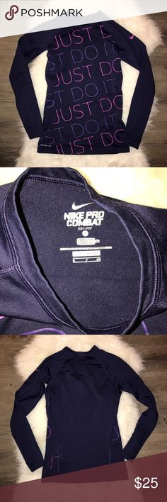 Nike Pro combat pro fitted top Worn 3 times, in excellent condition Nike Tops Tees - Long Sleeve