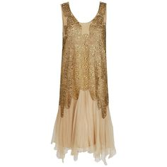 Evening dress 1925  Elspeth Champcommunal metallic gold-lame and champagne silk-chiffon dress. The lame has a floral embroidered pattern. The dress has layered handkerchief skirting and scalloped art-deco work. Garment slips over head with no additional closures.  Elspeth Champcommunal was a British fashion designer and the first editor of Vogue in Britain. She was influential as a designer in her own right in Paris, later taking on the role of chief designer of Worth Front 1