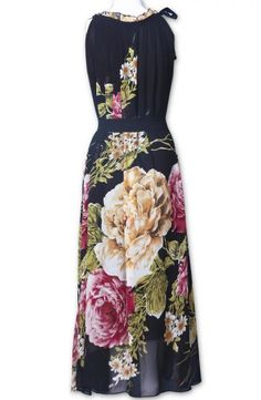 Black Sleeveless Belt Floral Full-Length Dress -
