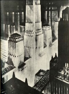This work is astounding.  Architectural drawings by the great Hugh Ferriss. His archives are held by our art and architecture library, Avery Library.