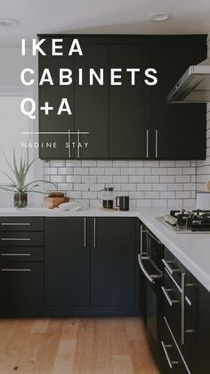 Ikea kitchen cabinets Q+A with Nadine Stay White Ikea Kitchen, Ikea Kitchen Remodel, Ikea Kitchen Design, Farmhouse Kitchen Cabinets, Kitchen Cabinet Design, Modern Kitchen Design, Interior Design Kitchen, Kitchen Island, Kitchen Decor