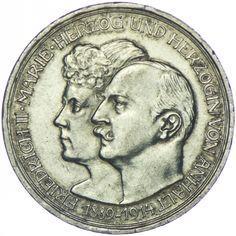 Anhalt, Friedrich II. 1904 - 1914 3 Mark 1914 A Silber Deutsches Kaiserreich