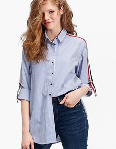Oversized shirt with rib and adjustable sleeves - Košulje Clothes 2018, Look Magazine, Cotton Shirt Dress, Fashion Today, Oversized Shirt, Western Wear, Shirt Sleeves, Blouse Designs, Custom Shirts