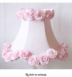 Pink Dupioni Silk Lamp Shade with Roses. You could do this yourself for a fraction of the price.