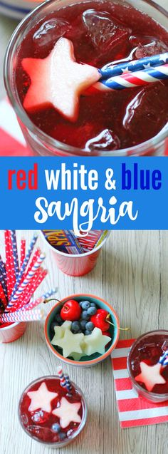 Red White and Blue Sangria - Foodtastic Mom Fourth Of July Food, 4th Of July Celebration, July 4th, Batch Cocktail Recipe, Cocktail Recipes, Holiday Drinks, Summer Drinks, Holiday Fun, Family Holiday