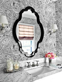 Lindsay Coral Harper powder room in House Beautiful