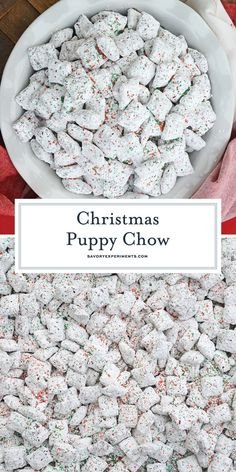 Christmas Puppy Chow transforms a traditional muddy buddy recipe into a festive ., Desserts, Christmas Puppy Chow transforms a traditional muddy buddy recipe into a festive Reindeer Chow mix! The perfect no-bake dessert for any party or event. Puppy Chow Recipes, Chex Mix Recipes, Recipe Puppy, Snacks Recipes, Puppy Chow Snack Mix Recipe, Puppy Chow Mix, Chow Chow Recipe, Easy Recipes, Candy Cane Christmas