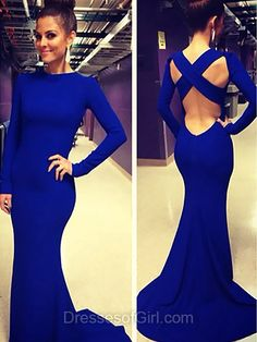 Open Back Prom Dress, Mermaid Prom Dresses, High Neck Evening Dresses, Long Sleeve Party Dresses, Royal Blue Formal Dresses