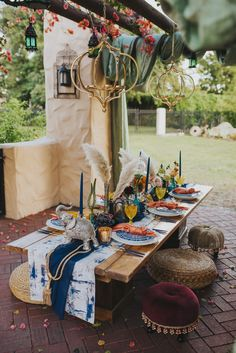 Blue, Orange and Yellow Moroccan Themed Wedding Reception Inspiration. Photo by Aurora Photography.