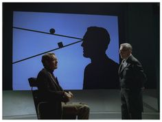 FREE FOR ALL: Number Six (Patrick McGoohan) is interrogated by the Labour Exchange Manager (George Benson).