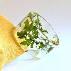 Green Leaves Botanical Resin Bangle  Chunky by SpottedDogAsheville, $39.00