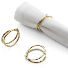 Aria Gold Napkin Ring - Crate and Barrel Gold Napkin Rings, Gold Napkins, Cotton Napkins, Christmas Dinnerware, Elegant Table Settings, White Dinnerware, Elegant Christmas, Organic Shapes, Gold Bands