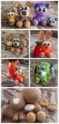 Crochet Toy Bear and Kitten #amigurumi #amigurumipattern #crochettoys #knittingtoy