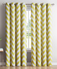 Yellow Chevron Thermal Blackout Curtain Panel - Set of Two #zulily #zulilyfinds