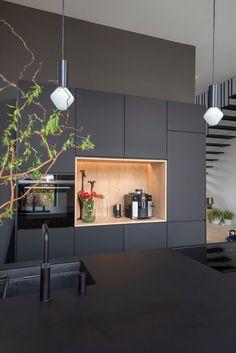 Kitchen Room Design, Best Kitchen Designs, Modern Kitchen Design, Kitchen Interior, Black Kitchens, Home Kitchens, Custom Kitchens, Cuisines Design, Office Interior Design