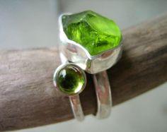 Big Rough Peridot Birch Bark Ring Sterling Silver by metalmorphoz