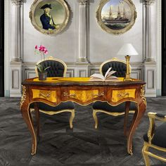 Antique reproduction of Louis XV style desk with gold bronze, entirely inlaid. The wood marquetry consists of various rare wood species (elm and mahogany). Fully hand-carved bronzes are finely crafted. Wood, Wood Species, Drawers, Hand Carved, Entryway Tables, Home Decor, Louis Xv, Furniture Styles, Desk