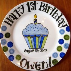 Hand painted personalized birthday plates...the perfect gift for anyone on their special day!    *10 round porcelain/ceramic plate *Includes a