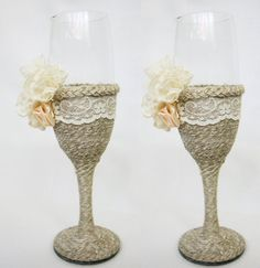 Rustic Wedding Champagne Glasses / Country Barn by superlunary, $30.00