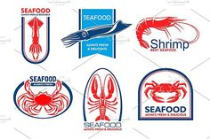 Seafood products emblems. Premium Icons. $8.00