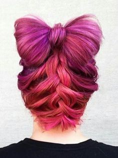 Pink bow braided dyed hair