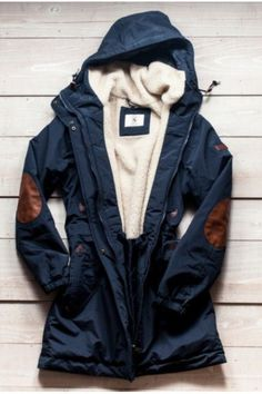 Navy coat with elbow patches...I love this!