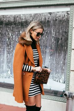 Topshop Striped Dress with Over-the-Knee Boots