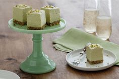 Avocado Cheesecake Bites with Pistachio Shortbread Crust Recipe (going to try this with Greek Yogurt) bites easy bites keto bites mini bites no bake bites no bake easy bites recipes Avocado Dessert, Avocado Cheesecake, Cheesecake Bites, Cheesecake Recipes, Pistachio Cheesecake, Cheesecake Squares, Pistachio Dessert, Cookie Cake Pie, Cookie Desserts