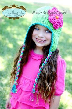 Ear Flap Hat - Bright Lime, Turquoise, Bright Pink, Bright Orange-Crochet, hat, beanie, flower, soft, fashion, boutique, kids, women, accessory, gift, holiday, winter, girl, baby, fiber, yarn, hot pink, apple, ear flap, earflap, warm, braids, helmet hat