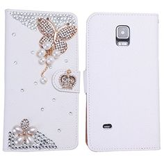 Wendy's Stores(TM) White Luxury 3D Fashion Handmade Bling Crystal Rhinestone PU Flip Wallet Leather Case Cover for Smart Mobile Phones (Samsung Galaxy note 4, Pearl Butterfly)