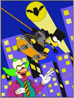 My second digital design idea! Making Bart Simpson as Batman! & Krusti as the Joker! Hope you all enjoy it! Support by follow! This design will come on T-shirts, mugs, phone cases & other cool stuff very soon! Follow my link for products! Tnx! Bart Simpson, Simpsons Art, Batman, Rick And Morty, My Drawings, Deadpool, Joker, Phone Cases, Superhero