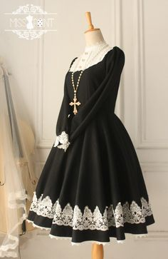 Miss Point The Castle Girl Vintage Classic Wool Lolita OP Dresss $110.99-Cotton…