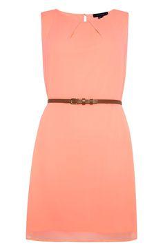 Primark - Fel koraalroze chiffon jurk met ceintuur