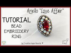 Tutorial anello con strass, tecnica embroidery. Come fare un anello all'embroidery con perline - YouTube