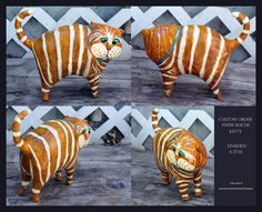 Custom Order Paper Mache Clay Cat Sculpture от GinsLilCharacters