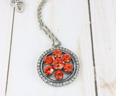 Orange Crush Necklace/Pendant by Elite Crystal Jewelry