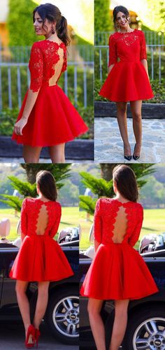 New Arrival A-line Red Lace Half Sleeve Short Prom Homecoming Dresses APD1561 #homecoming #promdress #halfsleeve #red #lace #short #happy #fashion