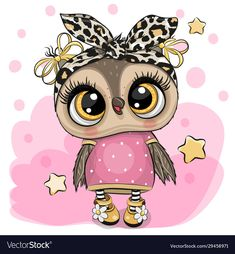 Cartoon owl on a pink background Royalty Free Vector Image Owl Clip Art, Owl Art, Cute Animal Drawings, Cute Drawings, Cute Owls Wallpaper, Stitch Games, Owl Illustration, Cartoon Illustrations, Dibujos Cute