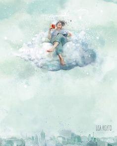Ah... søndagskaffen. Illustrasjon til @bjorkmatheasdatter s tekst om å ta seg tid til å la en kaffekopp vare hele dagen. 😊 Ha en fin… Teen Kids, I Love Reading, Illustration Art, Digital Art, Clouds, Drawings, Prints, Poster, Instagram