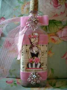 vintage,shabby,cottage,french,paris,victorian,marie antoinette,rhinestone,altered art,pink, bottle