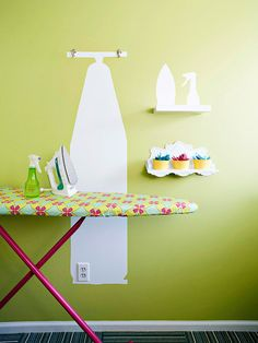 BHG- Match-and-stash silhouettes ensure no one will misplace important items. Trace the shapes onto the back of repositionable adhesive-back paper. Cut out the shapes and apply them to the wall. Paint over the adhesive-back paper and remove the pieces before the paint is fully dry.