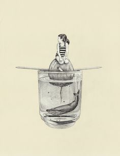 made by: Tahel Maor , illustration - (whale and girl fit in glass)