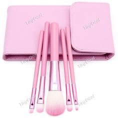 5pcs Makeup Brushes Set with Mirror for Lady - Pale Purple BBI-354708