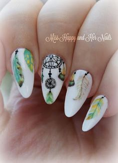 Dream catcher and feathers nail art