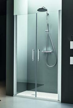 Arblu - DEDALO NICCHIA / 2 ANTE SALOON: Parete doccia senza telaio e con cerniera integrata sul profilo H. 200 cm / Cristallo temperato sp. 6 mm